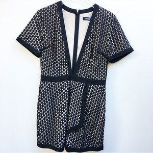 Missguided Black Lace Plunge Romper Size 8